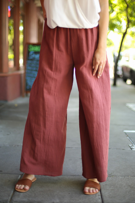 Blissful in Burgundy Cotton Palazzo Pants front view.
