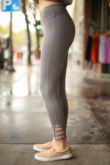 Activated Athletics Gray Leggings with Crossed Detail side view.