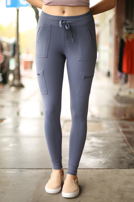 Activated Athletics Deep Blue Gray Cargo Leggings front view.