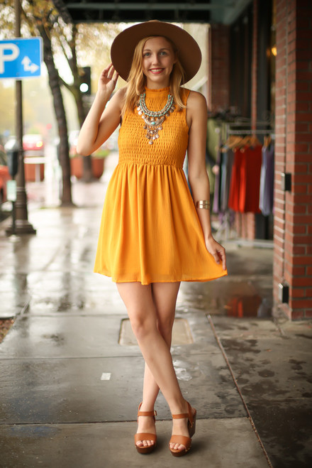 Bold in Mustard High Neck Babydoll Dress full body front view.