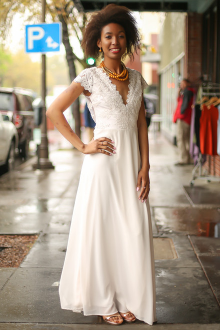 All Into Ivory Lace Maxi Dress with Slit front view.