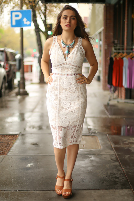 Dressed to the Nines Ivory Lace Sleeveless Bodycon Dress full body front view.
