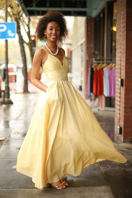 Midnight Glamour Yellow Satin Gown with Rhinestone Band front view.