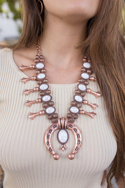 Copper and White Southwestern Statement Necklace