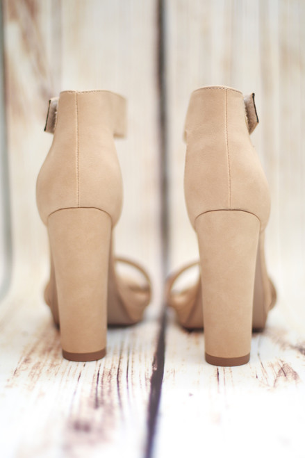 a34a2be08dfd Megan Platform Natural Nude Heels with Ankle Strap
