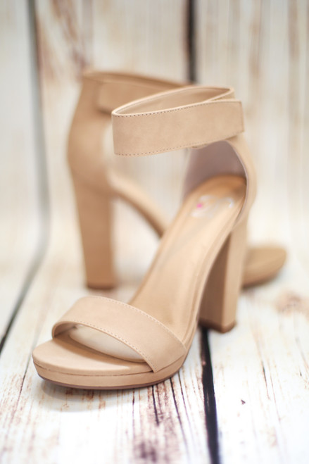 Megan Platform Natural Nude Heels with Ankle Strap