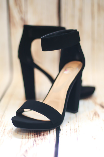Megan Platform Black Heels with Ankle Strap