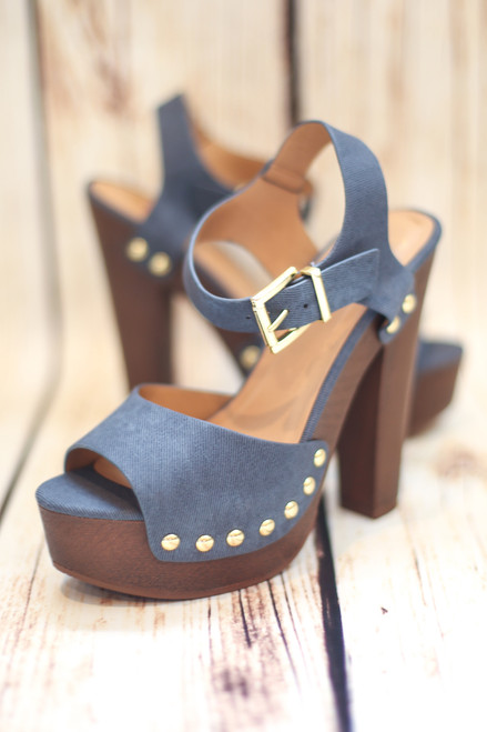 Shannon Denim Platform Heels with Ankle Strap