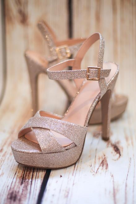 Amelia Penny Sparkly Open Toe Heels