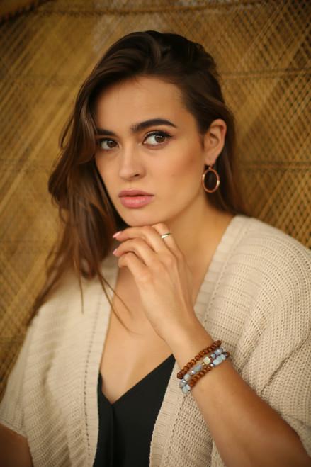 Wood and Light Blue Stone Layered Beaded Bracelet
