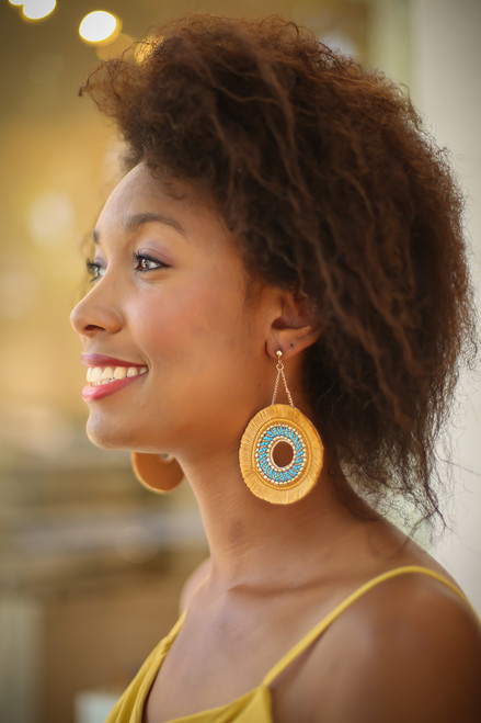 Gold and Camel Fringe Hoop Earrings