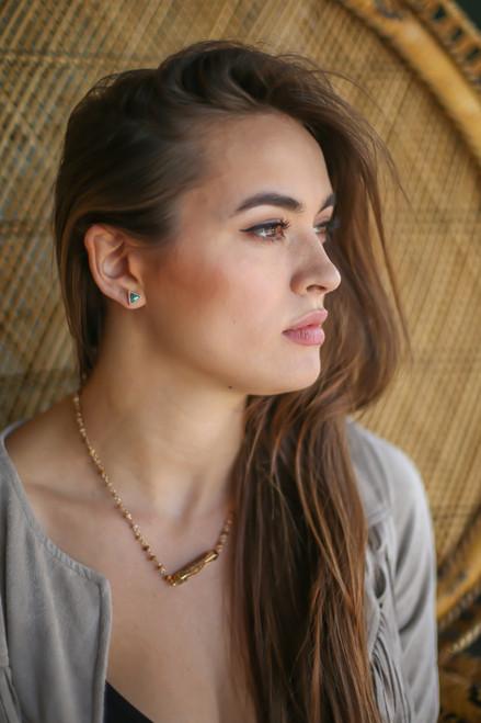 Abalone Triangle Stud Earrings