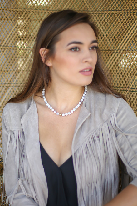 White Marbled Bead Necklace