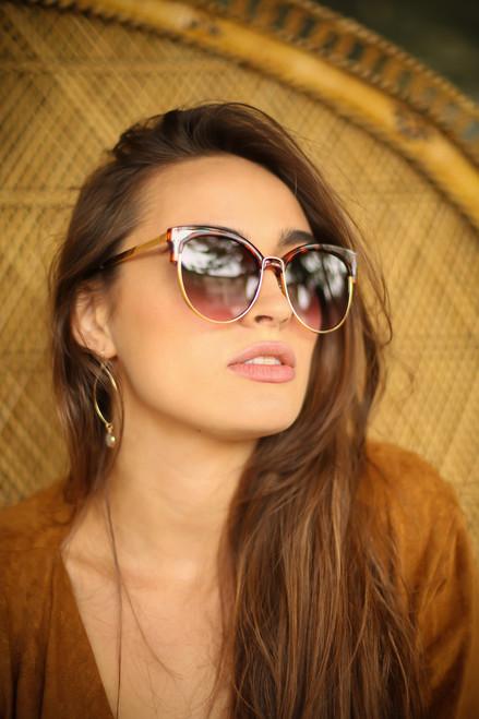 Tortoise Shell and Gold Rimmed Sunglasses