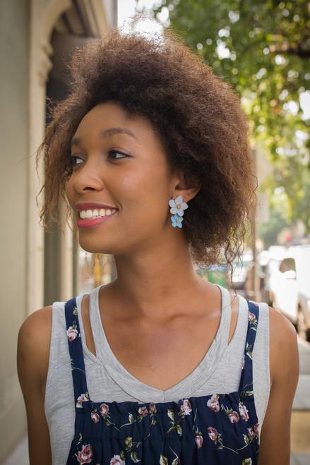 Blue Textured Flower Earrings
