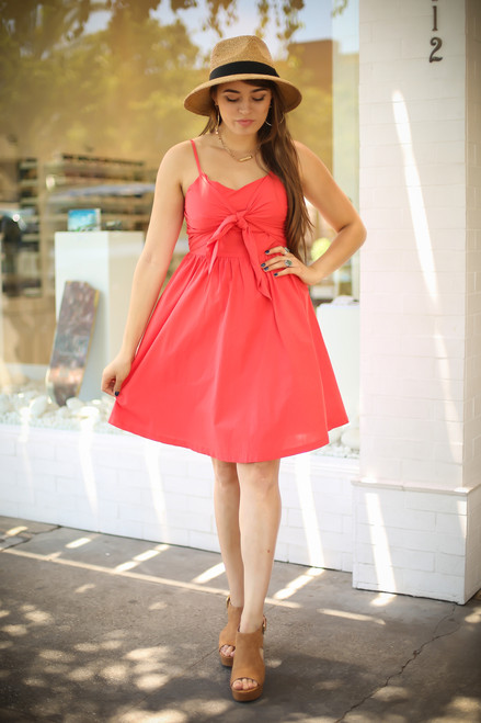Love In Hot Coral Sleeveless Tie Front Mini Dress full body front view.