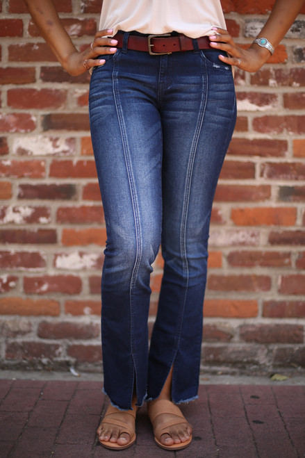 Beautifully and Vertically Lined Flared Jeans front view.