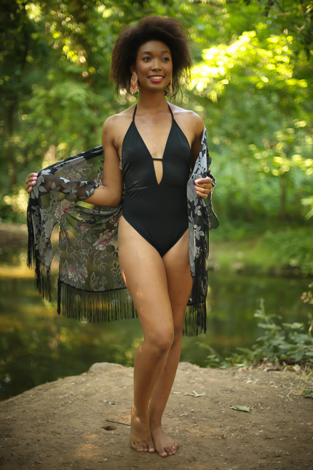 Poolside Princess Black Halter Swimsuit full body front view.