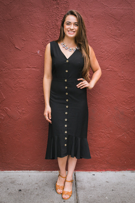 Can't Catch Me Now Black Button Down Midi Dress Front View