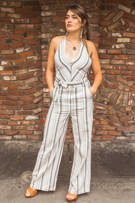 All About Business Beige & Black Striped Jumpsuit  Front View