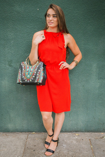 Ravious in Red High Neck Sleeveless Dress Front View