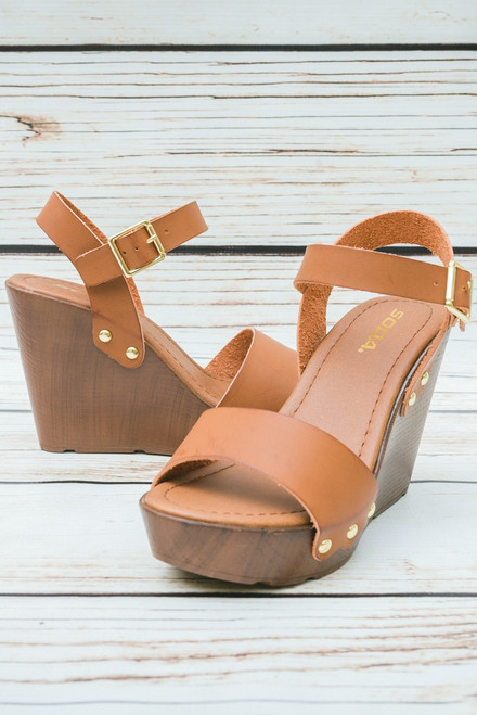 Meredith Tan Wooden Studded Platform Wedge