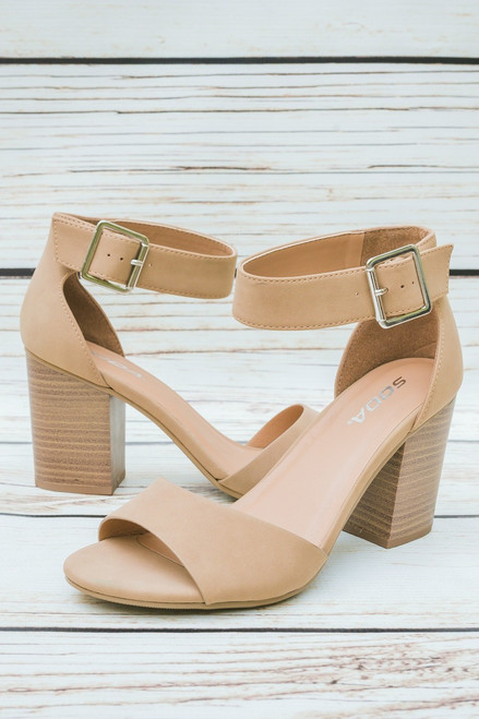 Cara Open Toe Nude Heels with Ankle Strap