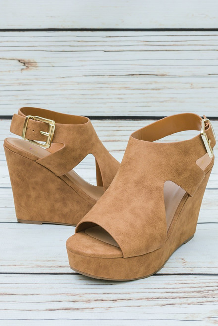 Gabby Tan Faux Suede Cut Out Wedges