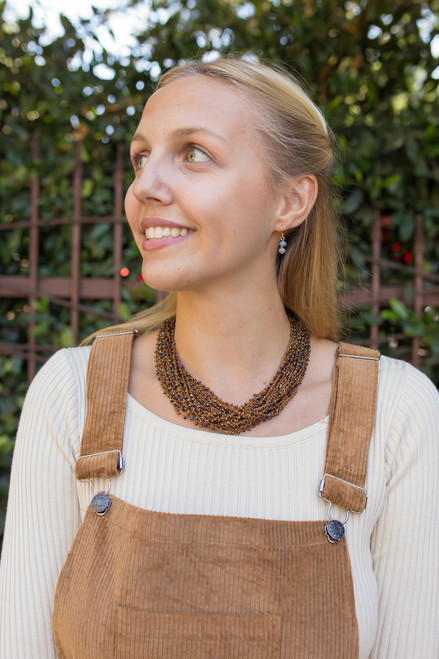 Brown Seed Bead Crochet Necklace