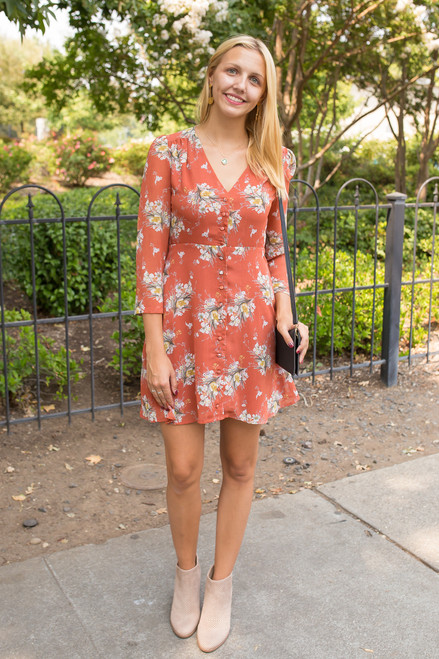 Floral Marsala Dreams Button Down Dress front view.