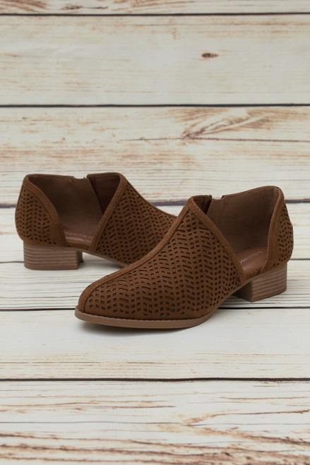 Holly Chestnut Laser Cut Booties