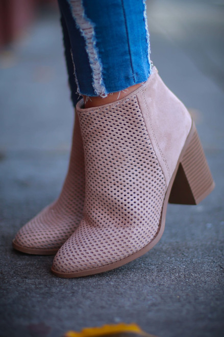 Melina Taupe Perforated Suede Bootie