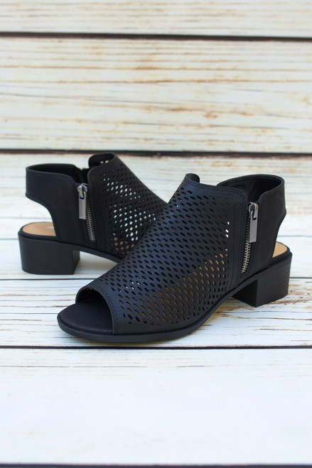 Sydney Perforated Black Bootie with Peep Toe