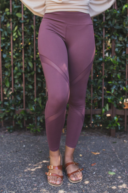 Activated Athletics Orchid Mesh Striped Leggings with Pocket  front view.