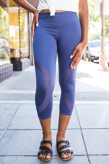Activated Athletics Denim Blue Mesh Paneled Capri Leggings front view.