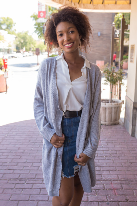 Hello Fall Two Toned Heather Gray Knit Cardigan with Pockets front view.