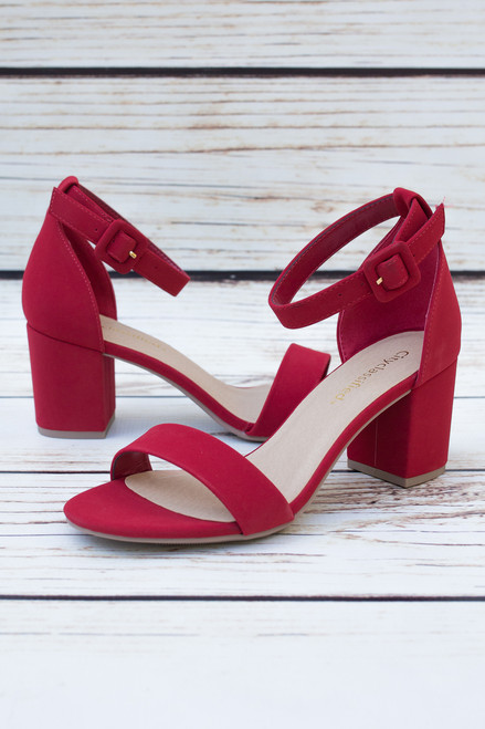 Clementine Open Toe Red Heels with Ankle Strap
