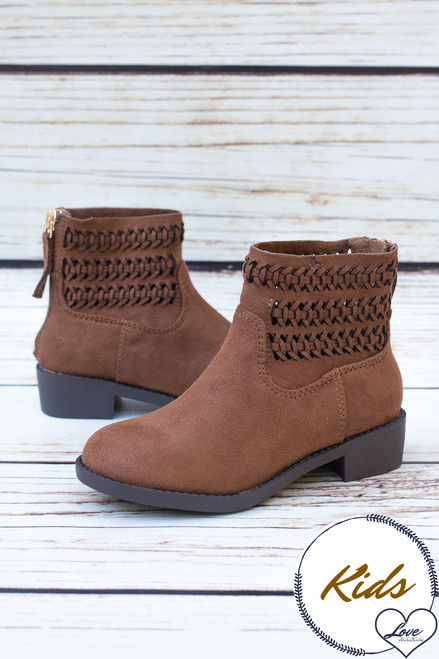 Peyton Chestnut Laser Cut Children's Booties