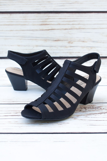 Alexa Black Strappy Heels with Peep Toe