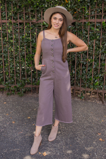 Midnight Madness Overall Button Down Jumpsuit with Pockets front view.