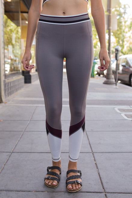 Activated Athletics Edgy Gray Burgundy and White Leggings front view.
