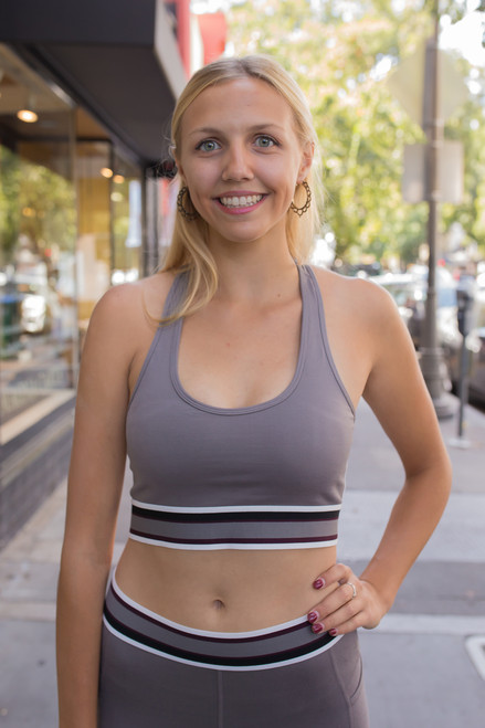Activated Athletics Edgy Gray White and Black Sports Bra front view.