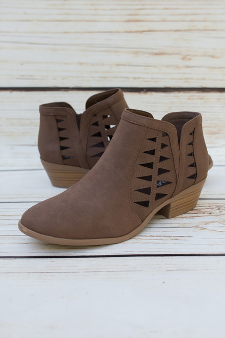 Annabelle Light Brown Laser Cut Ankle Booties
