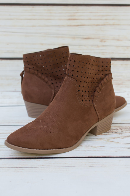 Lynn Cognac Perforated Ankle Booties