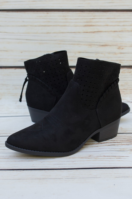 Lynn Black Perforated Ankle Booties