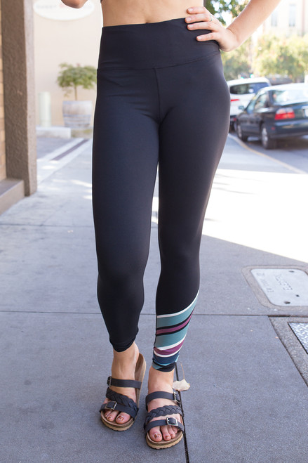 Activated Athletics Black Leggings with Candy Stripe Accent front view.