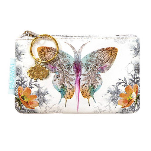Papaya Paisley Butterfly Coin Purse