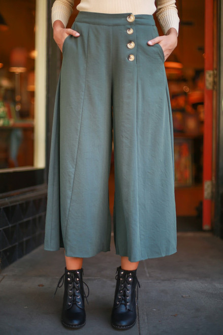 Dark Forest Fashionista Wide Leg Pants with Pockets front view.