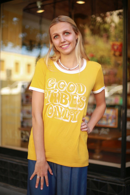 Good Vibes Only Graphic Mustard Short Sleeve Top front view.