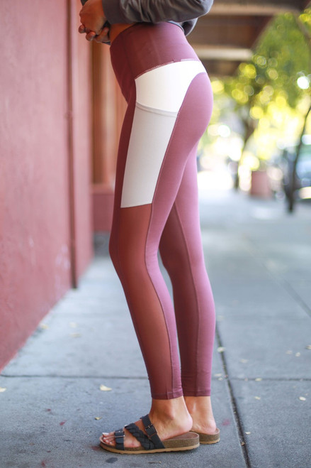 Activated Athletics Orchid Color Block Pocket Leggings side view.